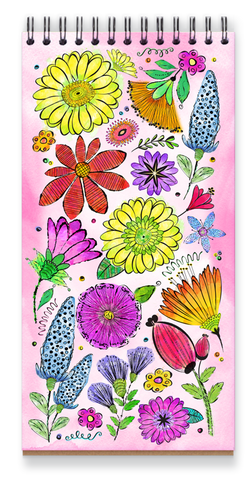 Watercolor Doodle Notebook, Cheerful colorful flower notebook with blank pages inside