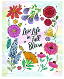 Live Live in Full Bloom Watercolor Wildflower Wall Print