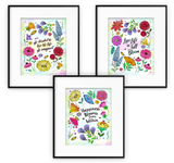 Cheerful Watercolor Wildflowers Pattern with Inspirational Quotes Wall Prints