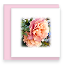 Twin Peony Garden Party Blooms Square Greeting Card with Blank inside