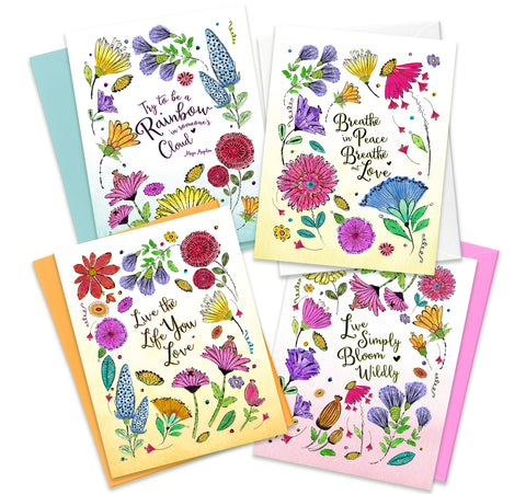 Wildflower Greeting Cards - 4 Assorted Inspirational Cards