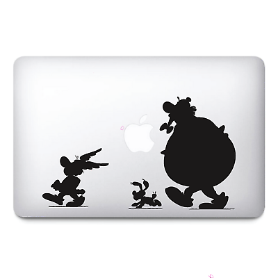 Asterix and Obelix Black Apple Macbook Stickers vinyl  Decals | Macbook Decals - Influent UK