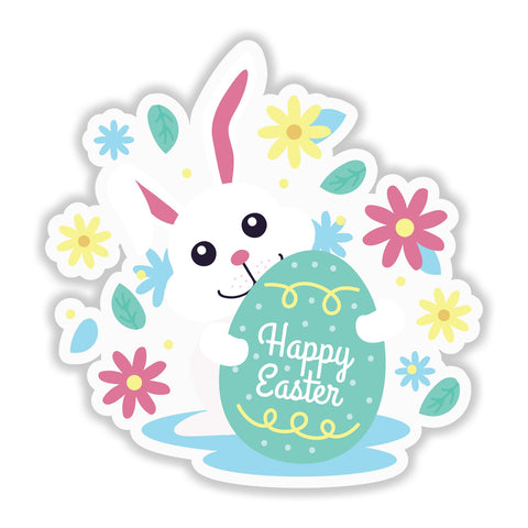 Easter Bunny - Happy Easter Self-adhesive vinyl Sticker - Home Decor Wall Art - Influent UK