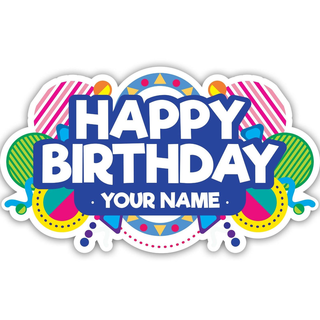 Custom name happy birthday vinyl stickers wall art window car laptop decal