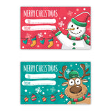 2 Pack Christmas Present Stickers, Christmas Gift Card Labels, Snowman, Reindeer - Influent UK