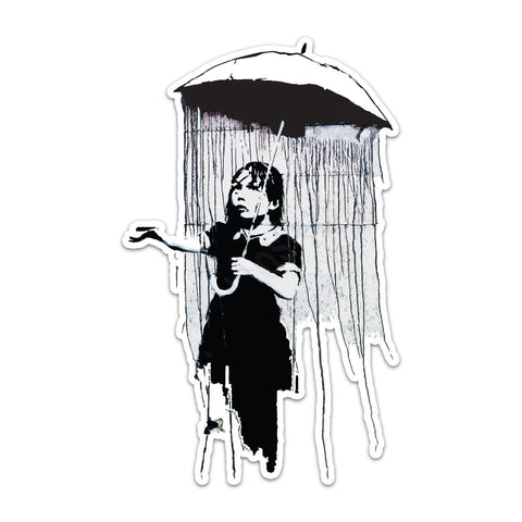 Banksy umbrella girl Vinyl Sticker | Wall Art Window, Car, Van, Laptop Macbook