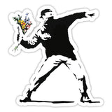Banksy Rage Flower Thrower Graffiti Wall art Vinyl Sticker, Laptop Decal, Window