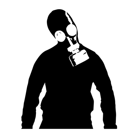 Banksy Man Gas Mask Decor Vinyl Stickers, Window, Wall, Car, Laptop Decals Gift - Influent UK