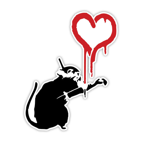 Banksy Rat with Red Heart Graffiti Wall art Vinyl Sticker, Laptop Decal, Window