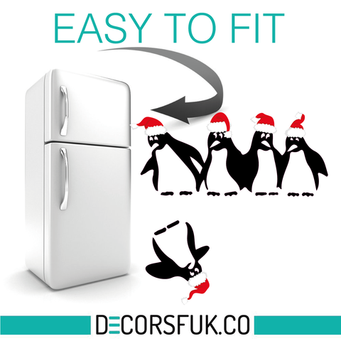 Christmas Penguins Fridge Stickers / A4 on clear vinyl / Kitchen / Funny Sticker - Influent UK