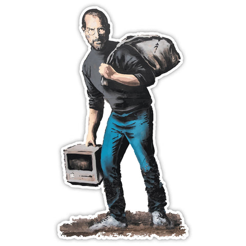 Banksy Steve Jobs Migrant Graffiti Wall art Vinyl Sticker, Laptop Decal, Window - Influent UK