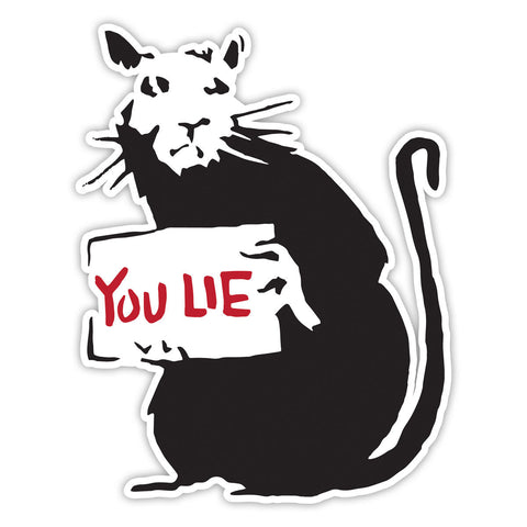 Banksy Rat You Lie Graffiti Wall art Vinyl Sticker, Laptop Decal, Window - Influent UK