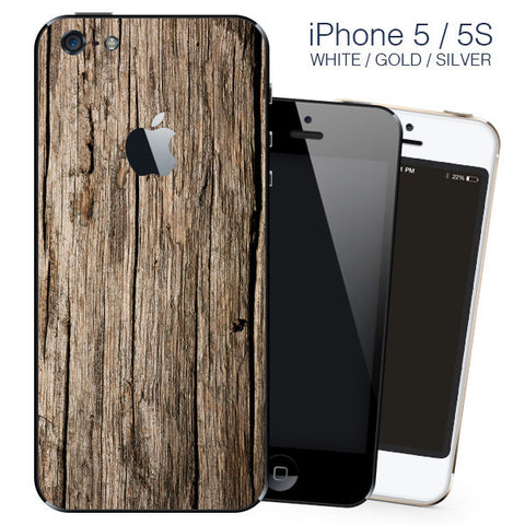 Brown Wood Design vinyl skin Sticker for Apple iPhone 5, 5S, SE, back cover only - Influent UK