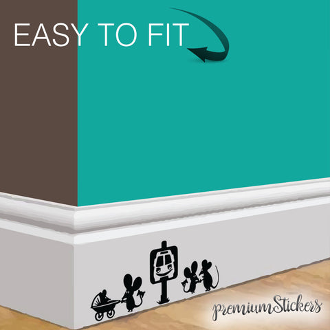 Funny Mice Rats Bus Station Wall Art Decor Black Vinyl Sticker Skirting Board - Influent UK
