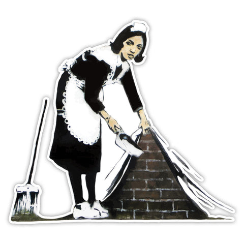 Banksy Maid sweeping Graffiti Vinyl Sticker, Phone, Laptop Decal, Window, Car - Influent UK