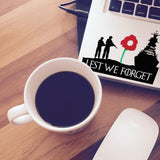 Lest We Forget Navy, Army Remembrance Day Symbol Poppy Flower Sticker Car Window - Influent UK