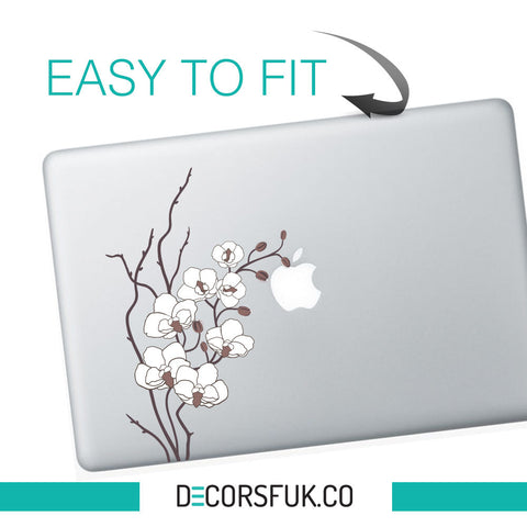 White Poppies Flowers macbook sticker | Laptop stickers | Decal - Flower / Girls