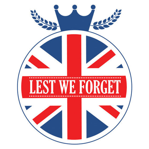 Lest We Forget United Kingdom Remembrance Sticker, Poppy Decal, Car, Window Sign - Influent UK