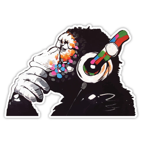 Banksy Monkey Headphones Graffiti Wall art Vinyl Sticker, Laptop, Fridge Decal - Influent UK