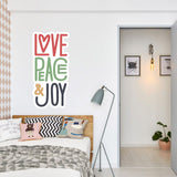 Love, peace, joy Vinyl Stickers | Wall Art Window, Car, Laptop Macbook Decal - Influent UK