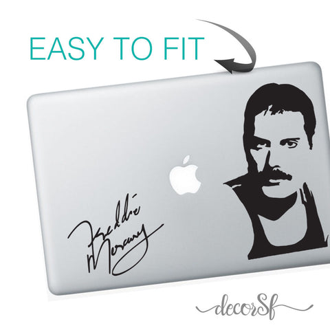 Freddie Mercury Macbook Stickers on black vinyl | Laptop sticker | Macbook Decal - Influent UK