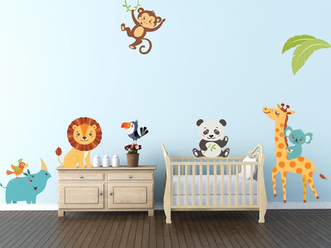 Fun & Cute Jungle Animals Room Wall Art Decorative Design Vinyl decal Stickers