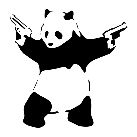 Banksy Panda Guns Decor Vinyl Stickers, Window, Wall, Car, Laptop Decals Gift
