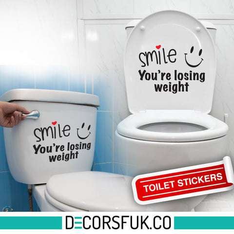 Smile you're losing weight- A4 - art decor/ wall decor/ toilet sticker black