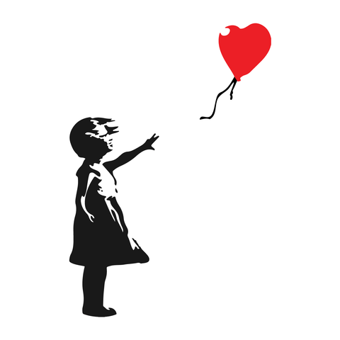 Banksy Girl Balloon Decor Vinyl Stickers, Window, Wall, Car, Laptop Decals Gift - Influent UK