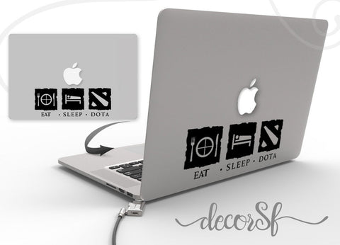 Eat sleep dota Macbook Stickers on black vinyl | Laptop stickers | Warkraft