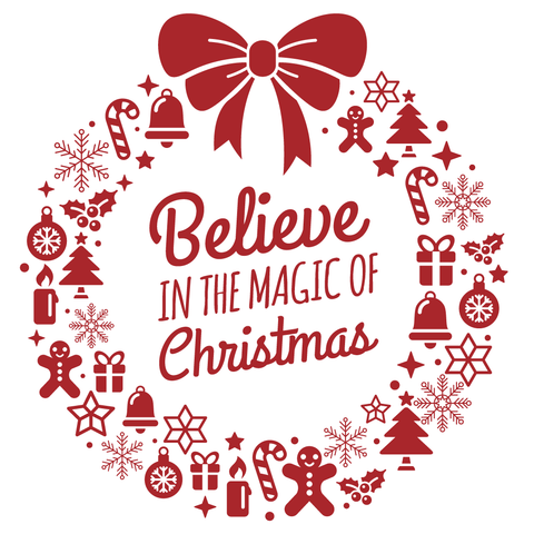 Believe Magic of Christmas Vinyl Sticker, Phone Sticker, Laptop Decal, Window