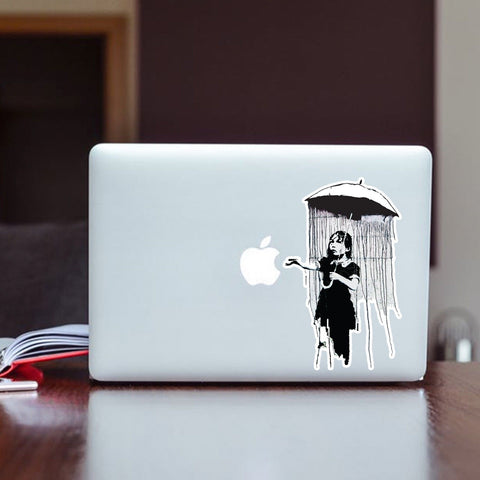 Banksy umbrella girl Vinyl Sticker | Wall Art Window, Car, Van, Laptop Macbook - Influent UK