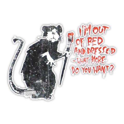 Banksy Out of Bed Rat Graffiti Wall art Vinyl Sticker, Laptop Decal, Window - Influent UK