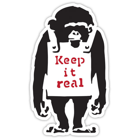 Banksy Monkey Keep it real Graffiti Wall art Vinyl Sticker, Laptop Decal, Window