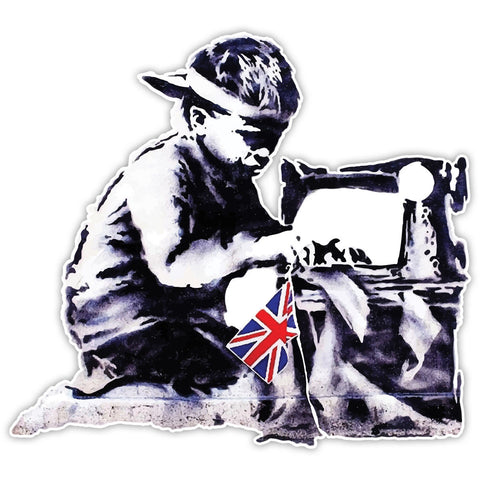 Banksy Child Slave Labour Graffiti Wall art Vinyl Sticker, Laptop Decal, Window - Influent UK