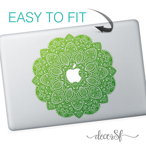 Mandala Flowers macbook sticker | Laptop stickers | Green Decal - Clear Vinyl - Influent UK