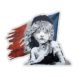 Banksy French Girl Flag Graffiti Vinyl Sticker, Phone, Laptop Decal, Window, Car