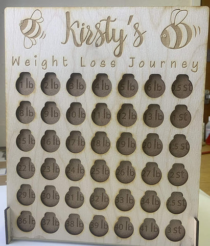 Custom wood weight loss journey - laser cut