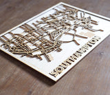 Custom laser cut map -  plywood city map with streets and main buildings