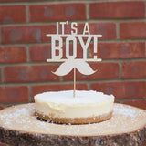 Baby Shower Cake Topper Laser Cut Design It's a boy or It's a Girl ply Wood - Influent UK