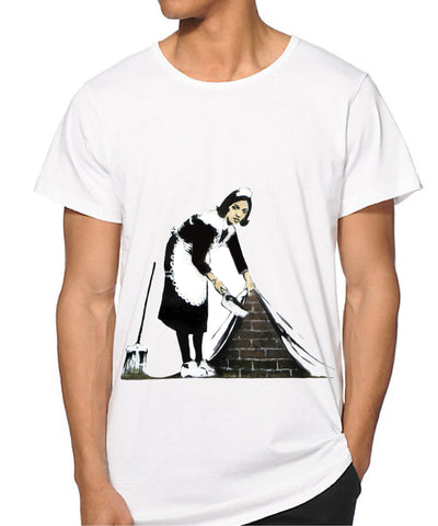 MEN Banksy Maid sweeping under the carpet T-shirt