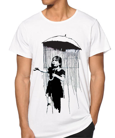 MEN Banksy Umbrella girl T-shirt