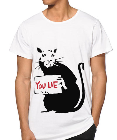 MEN Banksy Rat you lie T-shirt
