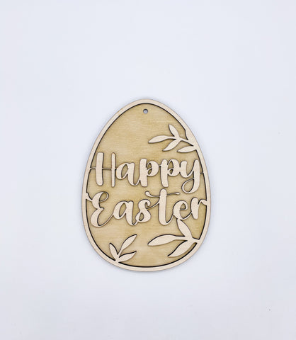Happy Easter Egg Laser cut and printed Decoration