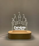 Custom name Princess Castle Laser cut Acrylic USB lamp for boys or girls Bedside