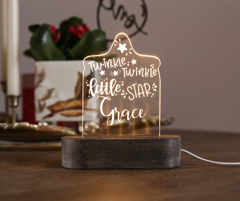 Custom name Twinkle Twinkle Little Star Laser cut Acrylic USB lamp for boys or girls