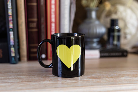 Yellow Heart 11oz Mug Tribute Poignant Tributes To Loved Ones Taken Too Soon | Personalised Mug