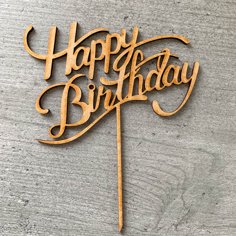 Cake topper Laser cut Happy Birthday MDF Cake topper Birthday party - Influent UK