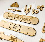 Lest we forget - Laser cut Wooden Airplane Remembrance day Armistice day RAF - Influent UK