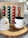 Custom laser cut family name Nespresso wooden pod holder